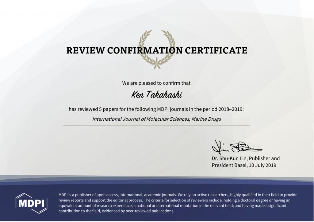 Ken Takahashi - reviewer certificate